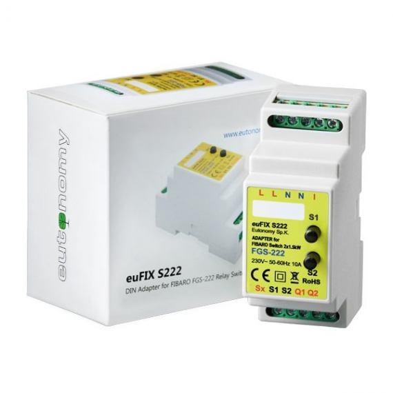 Adapter DIN euFIX S222 do modułu Fibaro FGS-222