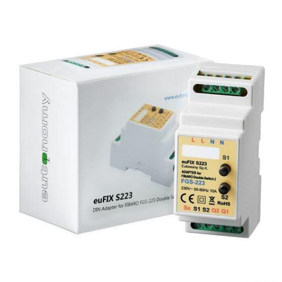 Adapter DIN euFIX S223 do modułu Fibaro FGS-223