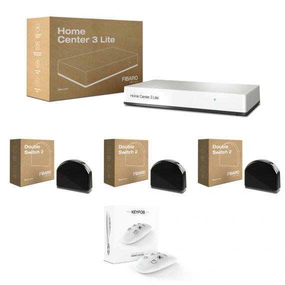 Zestaw oświetlenie - Fibaro HC3 Lite, 3x Fibaro Double Switch 2, Fibaro KeyFob