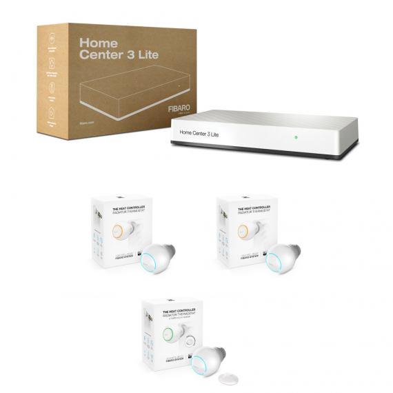 Zestaw ogrzewanie - Fibaro HC3 Lite, 2x Fibaro The Heat Controller, Fibaro The Heat Controller Starter Pack
