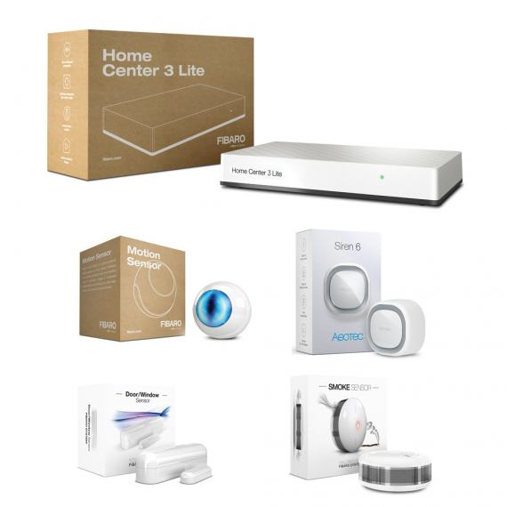 Zestaw bezpieczeństwo - Fibaro HC3 Lite, Fibaro Motion Sensor, Fibaro Smoke Sensor 2, Fibaro Door/Window Sensor 2, Aeotec Siren