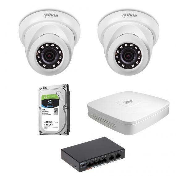 Zestaw DAHUA Zestaw DAHUA 2x Kamera 4 Mpix IPC-HDW1431S-0280B-S4+ Rejestrator IP+ Dysk 1TB+ Switch PoE