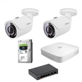 Zestaw DAHUA 2x Kamera 2 Mpix IPC-HFW1230S-0280B-S4 + Rejestrator IP+ Dysk 1TB+ Switch PoE