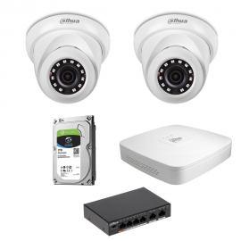 Zestaw DAHUA 2x Kamera 2 Mpix IPC-HDW1230S-0280B-S4 + Rejestrator IP+ Dysk 1TB+ Switch PoE