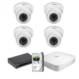 Zestaw DAHUA 4x Kamera 2 Mpix IPC-HDW1230S-0280B-S4 + Rejestrator IP+ Dysk 2TB+ Switch PoE