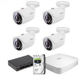 Zestaw DAHUA 4x Kamera 2 Mpix IPC-HFW1230S-0280B-S4 + Rejestrator IP+ Dysk 2TB+ Switch PoE