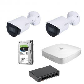 Zestaw DAHUA 2x Kamera 4 Mpix IPC-HFW2431S-S-0280B-S2 + Rejestrator IP+ Dysk 1TB+ Switch PoE