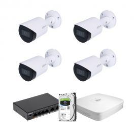 Zestaw DAHUA 4x Kamera 4 Mpix IPC-HFW2431S-S-0280B-S2 + Rejestrator IP+ Dysk 2TB+ Switch PoE