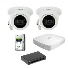Zestaw DAHUA 2x Kamera 2 Mpix IPC-HDW2231T-AS-0280B-S2 + Rejestrator IP+ Dysk 1TB+ Switch PoE